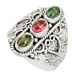 3.12cts natural multi color tourmaline 925 sterling silver ring size 9 r22502