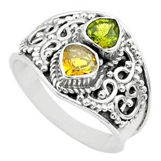 1.81cts natural multi color tourmaline 925 sterling silver ring size 7.5 t44863