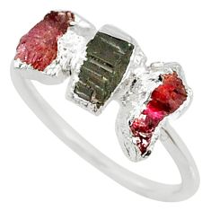 4.26cts natural multi color tourmaline raw 925 silver ring size 7 r70708