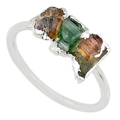 3.65cts natural multi color tourmaline raw 925 silver ring size 8 r70704
