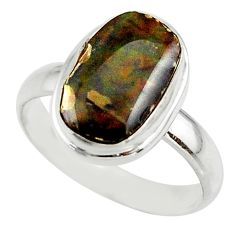 5.28cts natural multicolor ammolite (canadian) 925 silver ring size 8.5 r42470