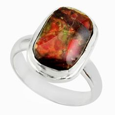 4.90cts natural multicolor ammolite (canadian) 925 silver ring size 5.5 r42472