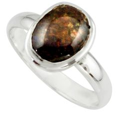 4.22cts natural multicolor ammolite (canadian) 925 silver ring size 10 r42471