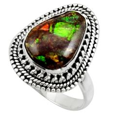 6.21cts natural multicolor ammolite (canadian) 925 silver ring size 9 r44516