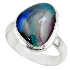 6.09cts natural multicolor australian opal triplet 925 silver ring size 7 r42521