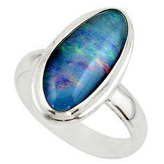 5.78cts natural multicolor australian opal triplet 925 silver ring size 7 r42528