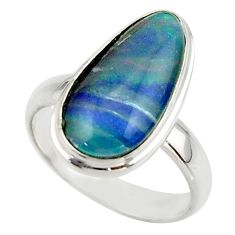 6.35cts natural multicolor australian opal triplet 925 silver ring size 7 r42533