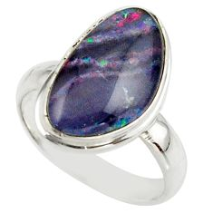 5.82cts natural multicolor australian opal triplet 925 silver ring size 7 r42536