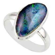 6.51cts natural multicolor australian opal triplet 925 silver ring size 8 r42504