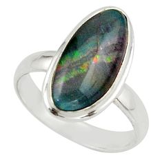 6.09cts natural multicolor australian opal triplet 925 silver ring size 8 r42511