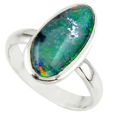 5.50cts natural multicolor australian opal triplet 925 silver ring size 8 r42532