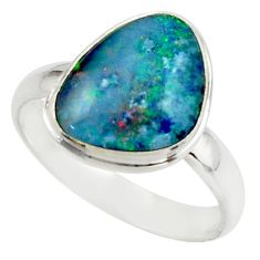 5.94cts natural multicolor australian opal triplet 925 silver ring size 9 r42510