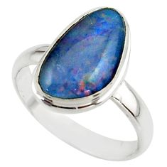 6.01cts natural multicolor australian opal triplet 925 silver ring size 9 r42540