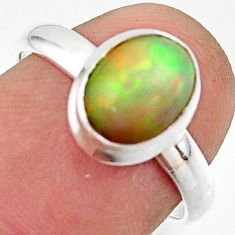 3.08cts natural multicolor ethiopian opal 925 silver ring size 7.5 r42646
