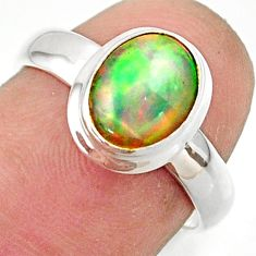 3.32cts natural multicolor ethiopian opal 925 silver ring size 6.5 r42648