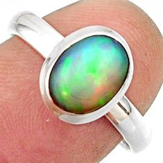 3.10cts natural multicolor ethiopian opal 925 silver ring size 7.5 r42649