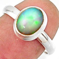 3.13cts natural multicolor ethiopian opal 925 silver ring size 7.5 r42650