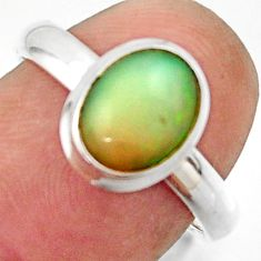 3.02cts natural multicolor ethiopian opal 925 silver ring size 7.5 r42652