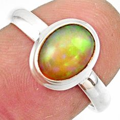 3.12cts natural multicolor ethiopian opal 925 silver ring size 7.5 r42656