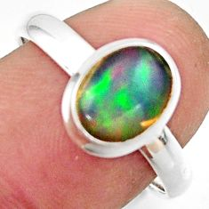 3.10cts natural multicolor ethiopian opal 925 silver ring size 8.5 r42657