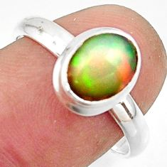 3.12cts natural multicolor ethiopian opal 925 silver ring size 8.5 r42659