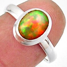 3.14cts natural multicolor ethiopian opal 925 silver ring size 7.5 r42664