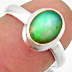3.16cts natural multicolor ethiopian opal 925 sterling silver ring size 7 r42665