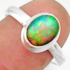 3.08cts natural multicolor ethiopian opal 925 sterling silver ring size 8 r42661