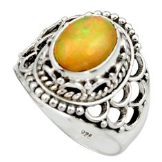4.21cts natural multicolor ethiopian opal 925 sterling silver ring size 8 r44776