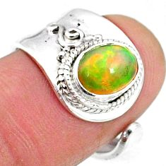 1.92cts natural multicolor ethiopian opal silver adjustable ring size 6.5 r65541