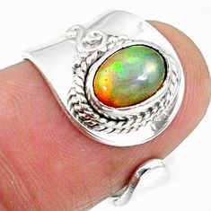 1.87cts natural multicolor ethiopian opal silver adjustable ring size 6.5 r65551