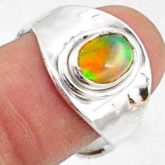 1.78cts natural multicolor ethiopian opal silver adjustable ring size 7.5 r65554