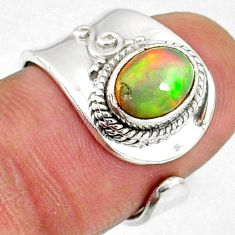 1.99cts natural multicolor ethiopian opal silver adjustable ring size 6 r65558