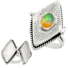 2.09cts natural multicolor ethiopian opal silver poison box ring size 8.5 r26642