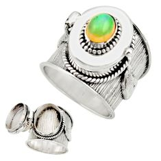 2.18cts natural multicolor ethiopian opal silver poison box ring size 8.5 r26654