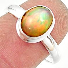 3.12cts natural multicolor ethiopian opal silver solitaire ring size 8.5 r35243