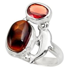 Clearance Sale- 6.30cts natural multicolor mexican fire agate 925 silver ring size 7.5 d39096