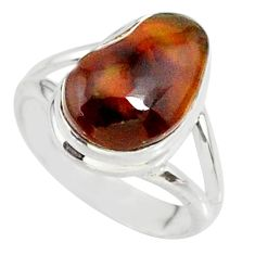 8.39cts natural multicolor mexican fire agate 925 silver ring size 6.5 r88505
