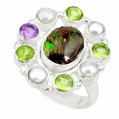 13.05cts natural multicolor mexican fire agate 925 silver ring size 8 r88501