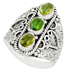 3.13cts natural multicolor tourmaline 925 sterling silver ring size 8.5 r22506