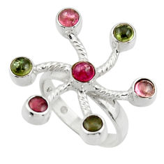 3.52cts natural multicolor tourmaline 925 sterling silver ring size 6.5 r44682
