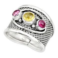 3.35cts natural multicolor tourmaline 925 sterling silver ring size 8 r44702