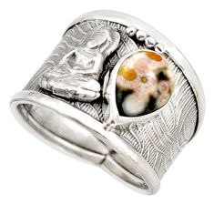2.26cts natural ocean sea jasper (madagascar) 925 silver ring size 8 d45931