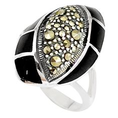 5.11cts natural black onyx marcasite 925 sterling silver ring size 7 c16390