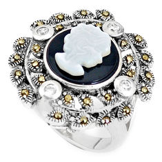 7.11cts natural onyx pearl enamel lady face 925 silver ring size 6.5 c16052
