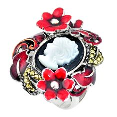 6.42cts natural black onyx pearl enamel lady face silver ring size 5.5 c16240