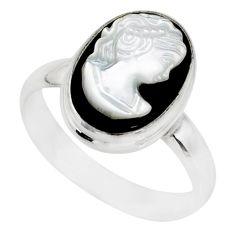 4.84cts natural opal cameo on black onyx 925 silver lady face ring size 8 r80467