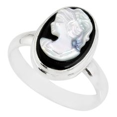 5.12cts natural opal cameo on black onyx 925 silver lady face ring size 9 r80459
