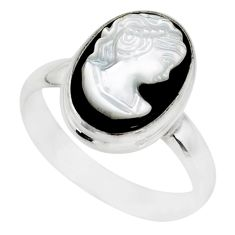 4.82cts natural opal cameo on black onyx silver lady face ring size 6.5 r80489