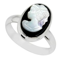 5.11cts natural opal cameo on black onyx silver lady face ring size 8.5 r80490